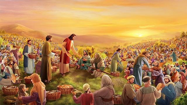 Storie della Bibbia moltiplicazione dei pani per cinquemila uomini