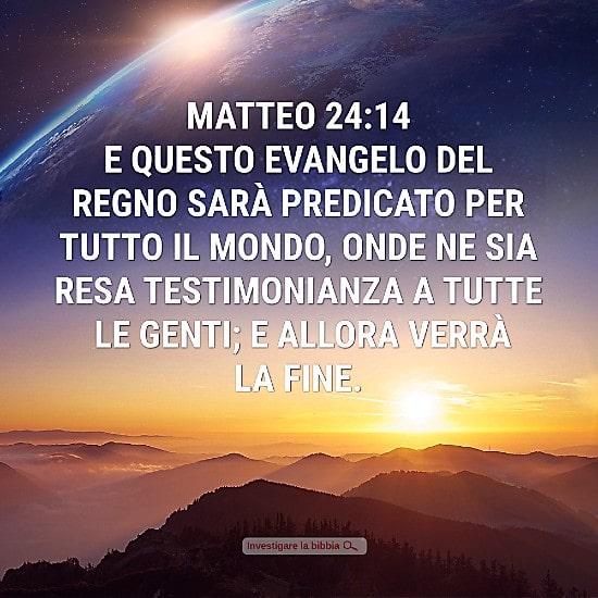 Il segno della venuta del Signore 3 il Vangelo è stato diffuso su tutta la terra
